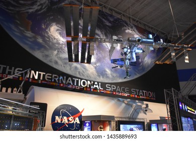 HOUSTON, TX - APR 19: Space Center in Houston, Texas, on April 19, 2019. Its a leading science and space learning center, official visitor center of NASA Johnson Space Center and a Smithsonian museum.