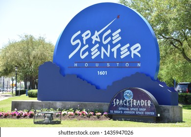HOUSTON, TX - APR 19: Space Center in Houston Texas on April 19 2019. Its a science and space learning center, NASA Johnson Space Center official visitor center and a Smithsonian museum.