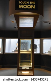 HOUSTON, TX - APR 19: Touch the Moon at Space Center in Houston Texas on April 19 2019. Its science and space learning center, NASA Johnson Space Center official visitor center and Smithsonian museum.