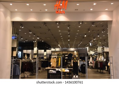 HOUSTON, TX - APR 22: H&M store at The Galleria mall in Houston, Texas, seen on Apr 22, 2019. It is an upscale mixed-use urban development shopping mall located in the Uptown District of Houston.
