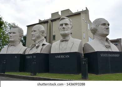 HOUSTON, TX - APR 23: Mount Rush Hour in Houston, Texas, on Apr 23, 2019. It was created by sculptor David Adickes with busts of George Washington, Abraham Lincoln, Sam Houston, Stephen Austin on I-45