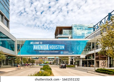 Houston, TX - Feb 29, 2020:  Avenida Houston. Texas' largest convention and entertainment area located in downtown Houston Texas.