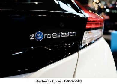 HOUSTON, TX - JANUARY 25, 2019: 2019 Nissan LEAF electric car at the Houston Auto Show. All New Second Generation Car Has New Styling and Longer Range