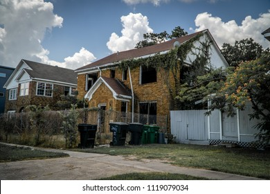 HOUSTON, TX JUNE 9th 2018: Old run down house with no windows in Houstons Third Ward.