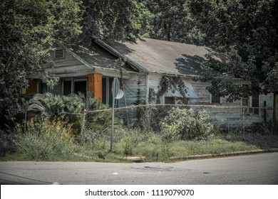 HOUSTON, TX JUNE 9th 2018: Old run down house in Houstons Third Ward.