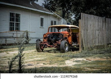 HOUSTON, TX JUNE 9th 2018: Old junk car from the mid century in Houstons Third Ward.