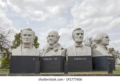 HOUSTON, TX - MARCH 21, 2013: American Statesmanship Park in Houston, Texas. Sculptures created with, Stephen F. Austin, Sam Houston, Abraham Lincoln and George Washington by Artist David Adickes.