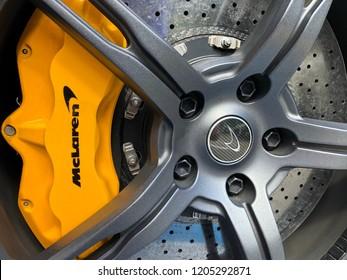 Houston TX, October 14, 2018. A custom rim and yellow brake pad from a Mclaren at the 2018 Lamborghini Festival