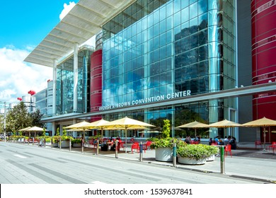 Houston, TX - October 19, 2019:  View of downtown Houston and the George R. Brown Convention Center on the Avenida de las Americas Houston Texas.