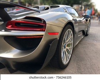 Houston TX, October 9, 2017 A Porsche 918 Sypder Concept car at the Lamborghini Festival
