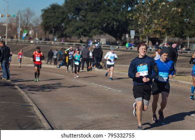 Houston, TX / USA - January 14, 2018: More than 11,000 runners participated in the 2018 Chevron Houston Marathon, an important cultural event as the city recovers from Hurricane Harvey