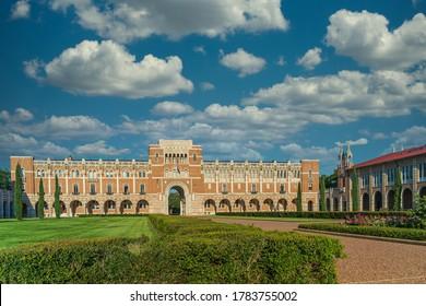 Houston, TX USA - Mai 14th 2020: The classic building at Rice University