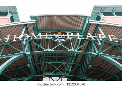 HOUSTON, TX, USA - SEPTEMBER 10, 2018: Minute Maid Stadium, home to the MLB's Houston Astro's, was built in 2000 and has a capacity of 41,168 for their baseball games, events, festivals, and concerts.