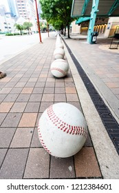 HOUSTON, TX, USA - SEPTEMBER 10, 2018: Oversized baseball's sit outside of Minute Maid Stadium, home to the MLB's Houston Astro's. These baseball's sit at most of the entrances to this sports stadium.