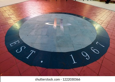 HOUSTON, TX, USA - SEPTEMBER 10, 2018: The Houston Rockets are housed at the Toyota Center in Downtown Houston and were established in 1967. This logo is located at their main entrance of their arena.