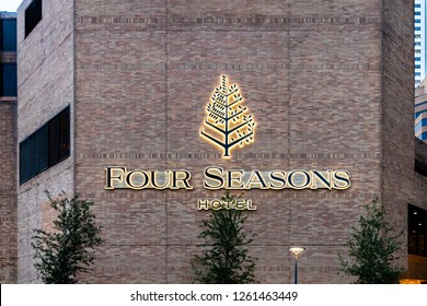 HOUSTON, TX, USA - SEPTEMBER 10, 2018: Four Seasons Hotel Houston is a five star hotel located in the heart of  downtown Houston's business district.