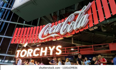HOUSTON, TX, USA - SEPTEMBER 11, 2018: Torchy's Taco's is a bar and restaurant located inside of the Houston Astro's Minute Maid Stadium.