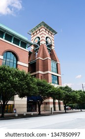 HOUSTON, TX, USA - SEPTEMBER 11, 2018: Minute Maid Stadium, home to the MLB's Houston Astro's, was built in 2000 and has a capacity of 41,168 for their baseball games, events, festivals, and concerts.