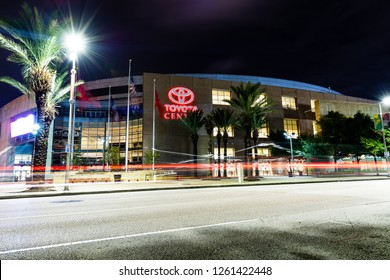 HOUSTON, TX, USA - SEPTEMBER 12, 2018: A long exposure at Toyota Center, which is home to the Houston Rockets and named after the Japanese automobile manufacturer.