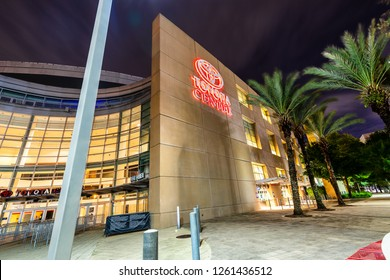 HOUSTON, TX, USA - SEPTEMBER 12, 2018: The Toyota Center is home to the Houston Rockets and named after the Japanese automobile manufacturer. The stadium was opened in 2003 and can hold about 18,300.