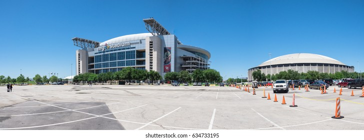 HOUSTON, TX-APR 4, 2017: Panorama view NRG Stadium, the only rodeo and NFL indoor/outdoor retractable roof stadium that can be configured to utilize 125K square foot space for exhibit, concert, event.