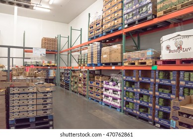 HOUSTON, US - AUG 18, 2016: Fresh produce refrigerated room in a Costco store. Costco Wholesale Corporation is largest membership-only warehouse club in United States. It is known for low-price offers