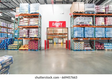 HOUSTON, US - JUN 30, 2017: Fresh organic dairy products, eggs and milk bottles refrigerated room in Costco store. Costco Wholesale Corporation is largest membership-only warehouse club in US.