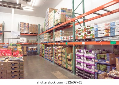 HOUSTON, US - NOV 8, 2016: Fresh produce refrigerated room in a Costco store. Costco Wholesale Corporation is largest membership-only warehouse club in United States. It is known for low-price offers.
