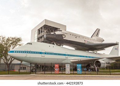 HOUSTON, USA - APR 12, 2016: Space Shuttle Independence and Shuttle Carrier Aircraft 905 at the Johnson Space Center in Houston. Texas, United States