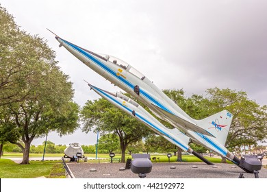 HOUSTON, USA - APR 12, 2016: Two Northrop T-38 Talon supersonic jet trainers at the Johnson Space Center. Texas, United States