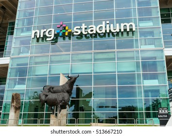 HOUSTON, USA - AUGUST 15;: Bull statue outside NRG Stadium home of National Football League's Houston Texans, Houston Livestock Show and Rodeo August 15, 2016 Houston Texas, USA