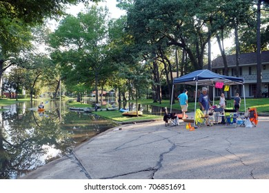 HOUSTON, USA - AUGUST 31, 2017: Evacuation of people from flooded houses. Consequences of the  Hurricane Harvey. Texas, US