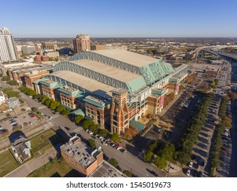 HOUSTON, USA - DEC. 15, 2018: Minute Maid Park aerial view next to Interstate Highway 69 in downtown Houston, Texas, USA. This stadium is home of MLB Houston Astros since 2000.