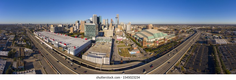 HOUSTON, USA - DEC. 15, 2018: Houston modern city panorama aerial view including George Brown Convention Center, Marriott Marquis Houston and Minute Maid Park on Interstate Highway 69.