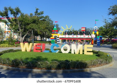 HOUSTON, USA - JANUARY 12, 2017: Welcome sign in the main entrance to Legoland. Legoland is a theme park based on the popular LEGO brand of building toys