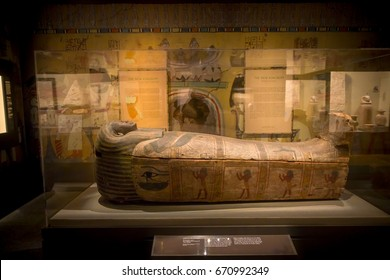 HOUSTON, USA - JANUARY 12, 2017: Beautiful sarcophagus of the Ancient Egypt in National Museum of Natural Science in Orlando Houston in USA, in a black background