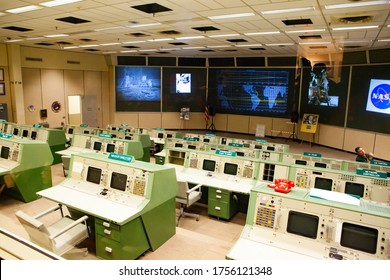 Houston, USA - January 26, 2013: Original Mission Control Center and detailed object closeups at Houston Space Center in Texas, USA