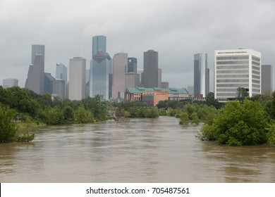 HOUSTON, USA ON 20 AUGUST 2017: Downtown Houston after Harvey hurricane , in Texas, USA