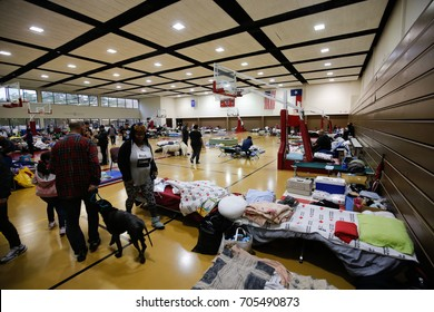 HOUSTON, USA ON 20 AUGUST 2017: Lonestar College North Harris become shelter after Harvey hurricane , in Texas, USA