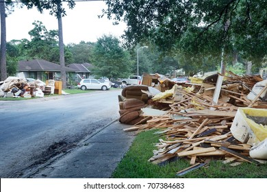 HOUSTON, USA - SEPTEMBER 1, 2017: The aftermath of Hurricane Harvey: many flooded houses, owners throw away their belongings, materials that were under water. The streets are huge piles of garbage