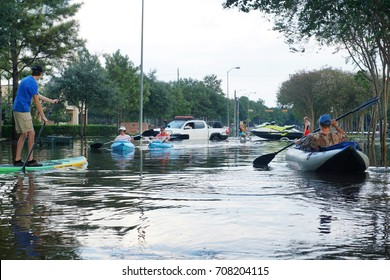 HOUSTON, USA - SEPTEMBER 2, 2017:  Traffic on flooded roads of the city. Texas, US