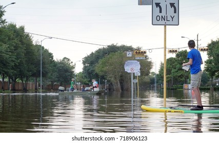 HOUSTON, USA - SEPTEMBER 2, 2017:  Traffic on flooded roads of the city. Texas, US