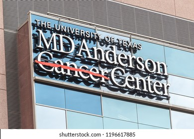 Houston, USA - September 22, 2018: Sign of The University of Texas MD Anderson Cancer Center on the building in Houston, one of the original three comprehensive cancer centers in the United States.