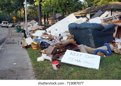 HOUSTON, USA - SEPTEMBER 8, 2017: The owners of the houses took out of the premises everything that was flooded and waiting for the commission FEMA to pay them the flood insurance