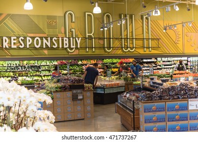 HOUSTON, US-AUG 21, 2016: Fresh produces in Whole Foods Market store at Houston, Texas, US. Whole Foods, eco-minded chain is a leader is natural and organic foods with seven stores in the Houston area