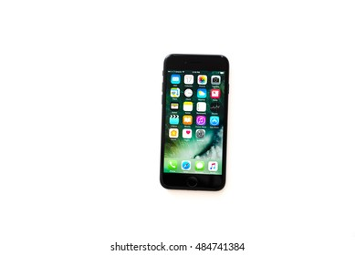 HOUSTON, US-SEPT 17, 2016: Apple iPhone 7 isolated on white background. It is the newest iPhone that has been release on Sept 7, 2016.