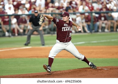 HOUSTON,TEXAS - JUNE 8: Texas A&M pitcher David Newmann prepares to pitch the ball to a Rice University player in a game played on June 8, 2007 in Houston, Texas.