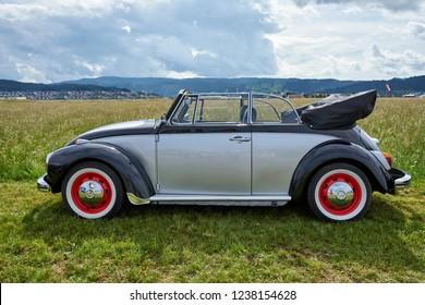 Houtaud/Franche Comté/France/June 2018 : Grey And Black Volkswagen Beatle Parks At Oldtimer Car Rallye
