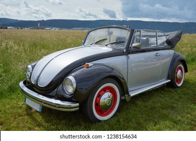 Houtaud/Franche Comté/France/June 2018 : Grey And Black Volkswagen Beatle Parks At Oldtimer Car Rallye