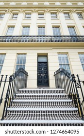 Hove, Sussex, UK. December 2018. Close up of Brunswick Terrace on the sea front in Hove / Brighton, showing architectural detail.